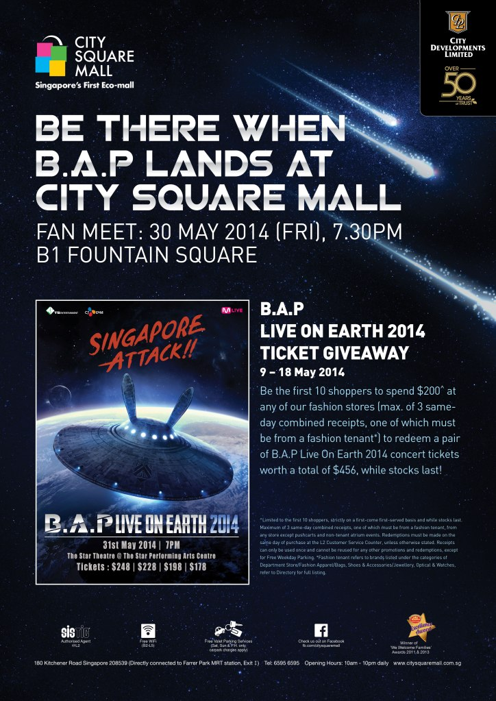 B.A.P Live On Earth Singapore 2014 Giveaway Poster sgXCLUSIVE
