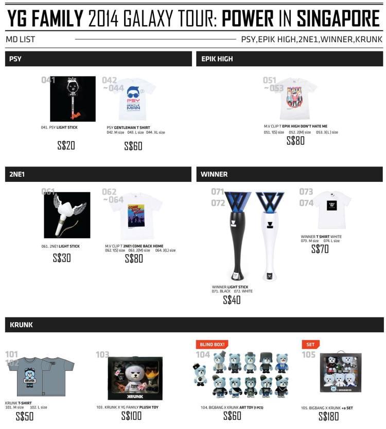 YG Family Concert in Singapore Merchandise List 2
