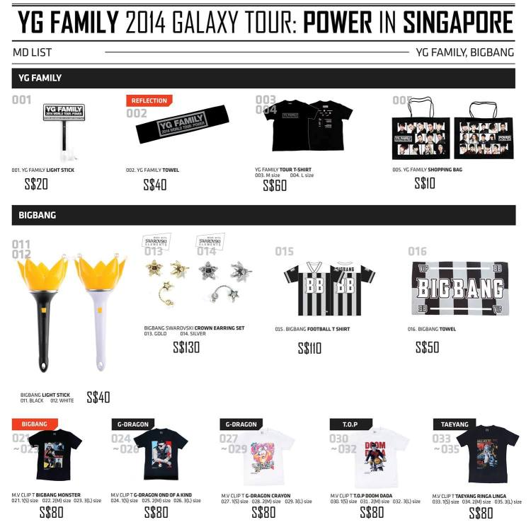 YG Family Concert in Singapore Merchandise List