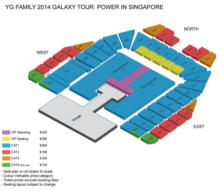 YG Family Concert in Singapore Seating Plan