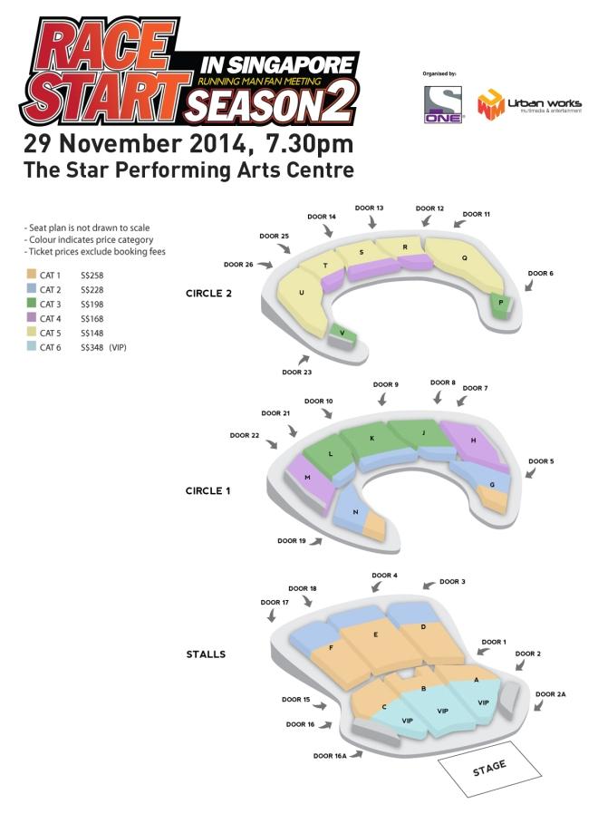 Running Man Singapore Fanmeeting 2014 Seating Plan